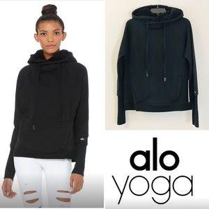 Alo Yoga Frost Long Sleeve Black Sweatshirt w Hood